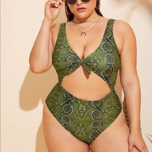 High Waist One Piece Snake Skin Swimsuit